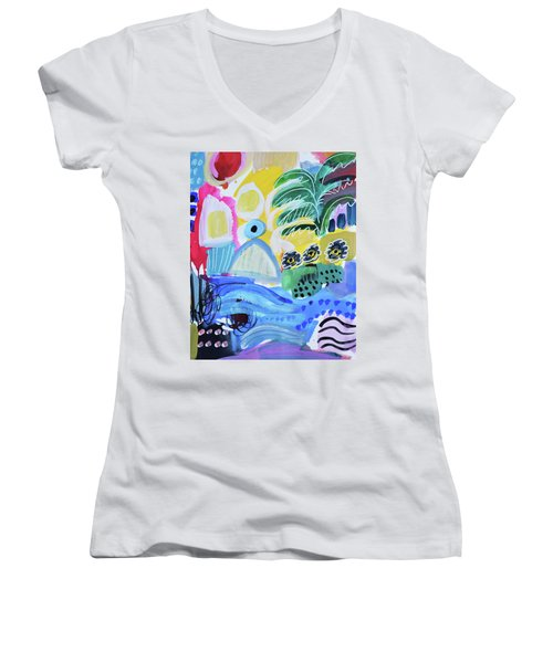 Abstract Tropical Landscape Women's V-Neck T-Shirt