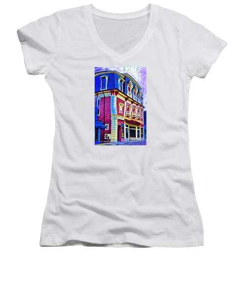 Women's V-Neck T-Shirt (Junior Cut) featuring the digital art Abstract Urban by Kirt Tisdale