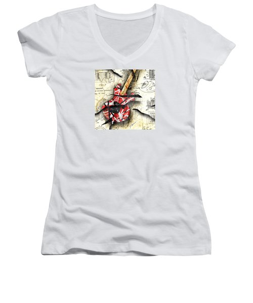 Abstracta 35 Eddie's Guitar Women's V-Neck T-Shirt (Junior Cut) by Gary Bodnar