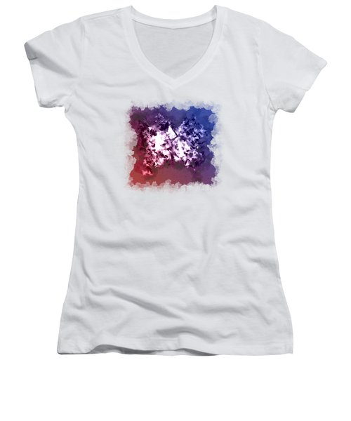 Abstraction Of The Ink Kiss  Women's V-Neck T-Shirt (Junior Cut) by Anton Kalinichev