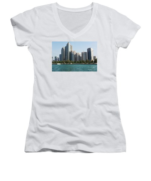 Women's V-Neck T-Shirt (Junior Cut) featuring the photograph Abu Dhabi by Hanza Turgul
