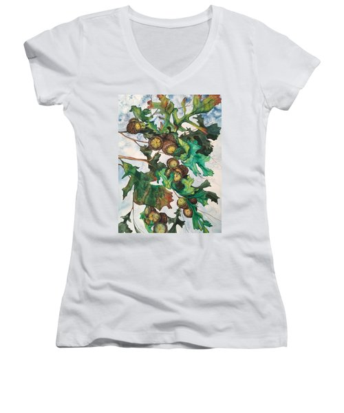 Acorns On An Oak  Women's V-Neck