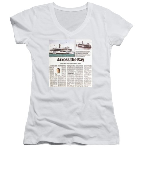 Women's V-Neck T-Shirt (Junior Cut) featuring the painting Toronto Sun Article Across The Bay by Kenneth M Kirsch