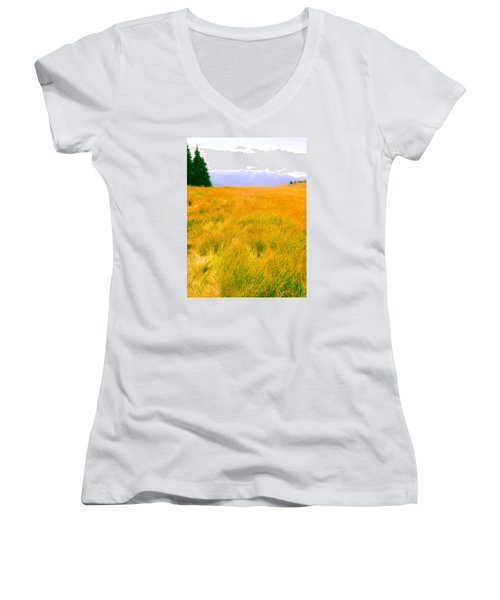 Women's V-Neck T-Shirt (Junior Cut) featuring the photograph Across The Summer Meadow by Ronda Broatch