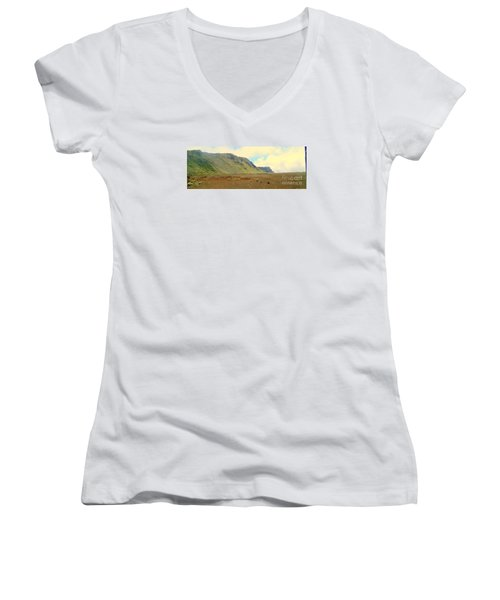 Active Volcano Women's V-Neck T-Shirt (Junior Cut) by John Potts