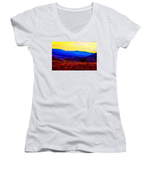 Women's V-Neck featuring the painting Acton California Sunset by Dr Bob Johnston
