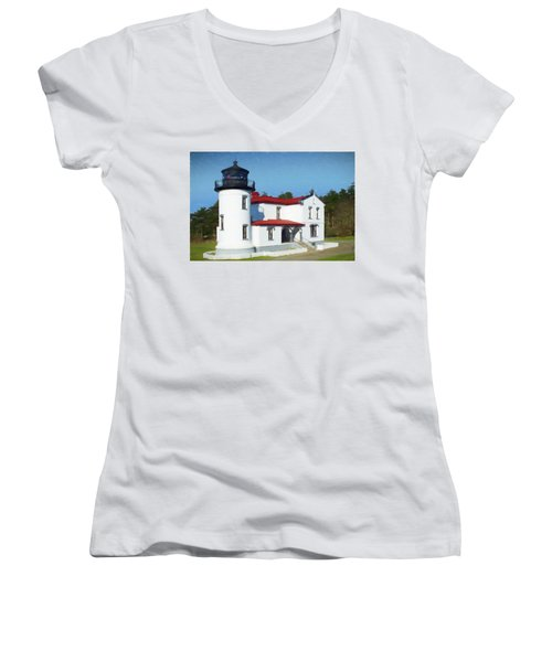 Admiralty Head Lighthouse #2 Women's V-Neck (Athletic Fit)