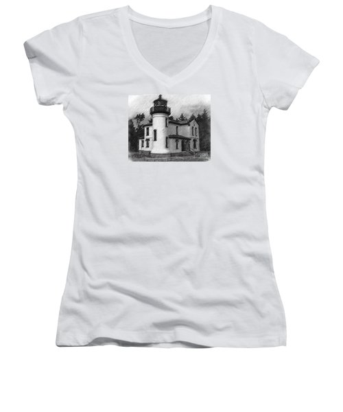 Women's V-Neck T-Shirt (Junior Cut) featuring the digital art Admiralty Head Lighthouse Sketched by Kirt Tisdale