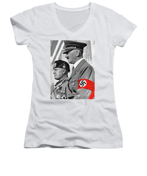 Adolf Hitler And Fellow Fascist Dictator Benito Mussolini October 26 1936 Number Three Color Added  Women's V-Neck