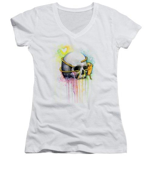 Adventure Time Jake Hugging Skull Watercolor Art Women's V-Neck (Athletic Fit)