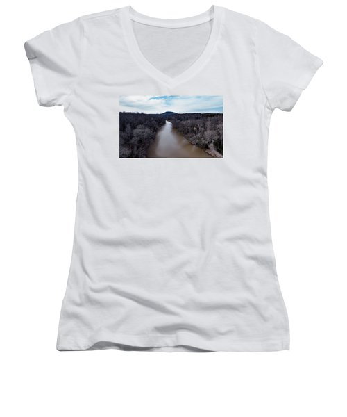 Aerial River View Women's V-Neck (Athletic Fit)