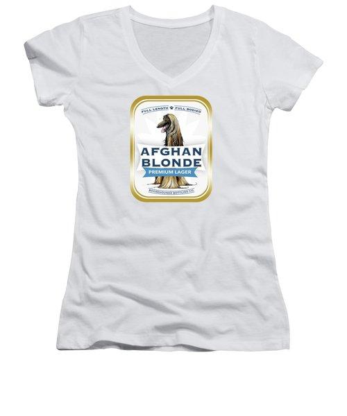 Afghan Blonde Premium Lager Women's V-Neck T-Shirt