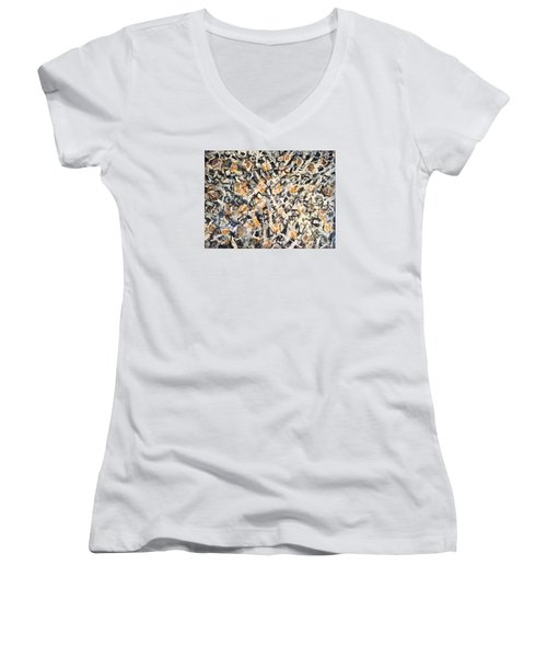 Women's V-Neck T-Shirt (Junior Cut) featuring the painting Africa Iv by Fereshteh Stoecklein