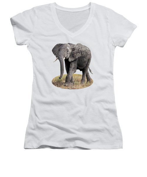 African Elephant Happy And Free Women's V-Neck T-Shirt (Junior Cut) by Gill Billington