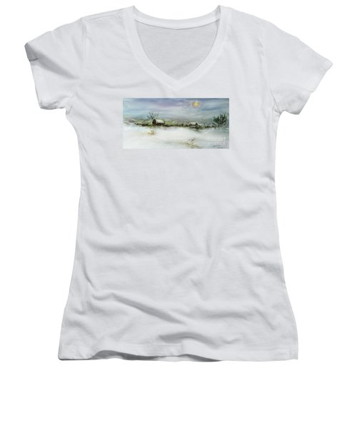 After A Heavy Fall Of Snow Women's V-Neck T-Shirt (Junior Cut) by Xueling Zou