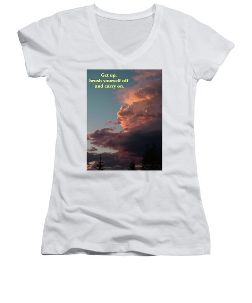 Women's V-Neck T-Shirt (Junior Cut) featuring the photograph After The Storm Carry On by DeeLon Merritt