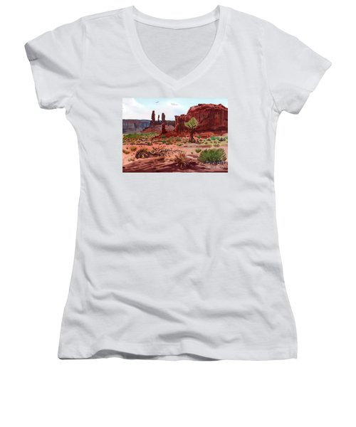 Afternoon In Monument Valley Women's V-Neck T-Shirt (Junior Cut) by Donald Maier