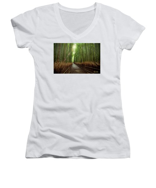 Women's V-Neck T-Shirt featuring the photograph Afternoon In The Bamboo by Rikk Flohr