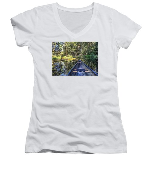 Afternoon Paddle Women's V-Neck T-Shirt (Junior Cut) by William Wyckoff