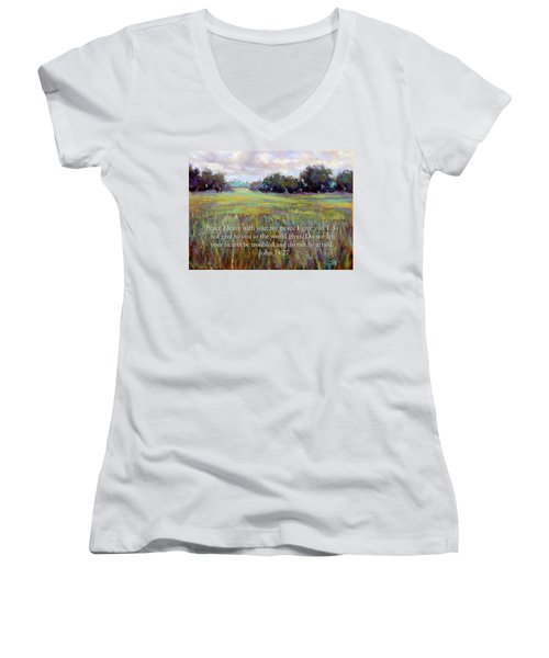 Afternoon Serenity With Bible Verse Women's V-Neck (Athletic Fit)