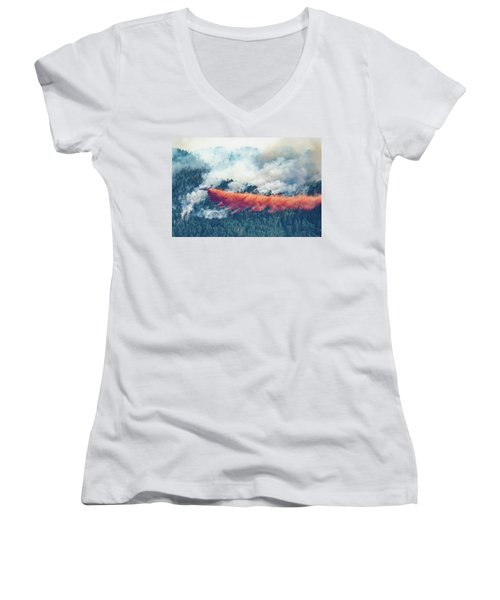 Air Tanker On Crow Peak Fire Women's V-Neck (Athletic Fit)