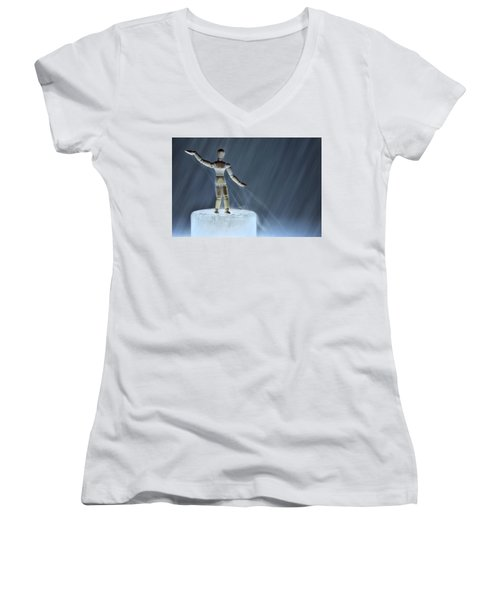 Women's V-Neck T-Shirt (Junior Cut) featuring the photograph Airbender by Mark Fuller
