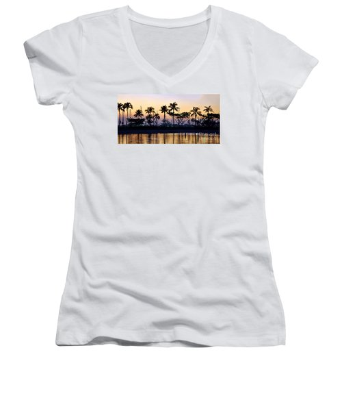 Women's V-Neck T-Shirt (Junior Cut) featuring the photograph Ala Wai Harbor by Gina Savage