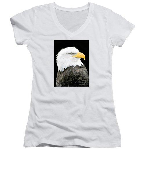 Alaskan Bald Eagle Women's V-Neck (Athletic Fit)