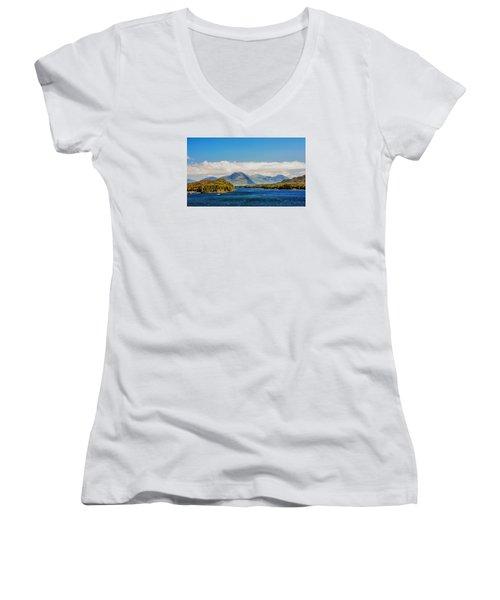 Alaskan Wilderness Women's V-Neck T-Shirt (Junior Cut) by Lewis Mann