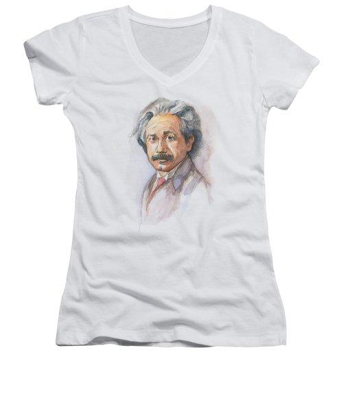 Albert Einstein Women's V-Neck (Athletic Fit)
