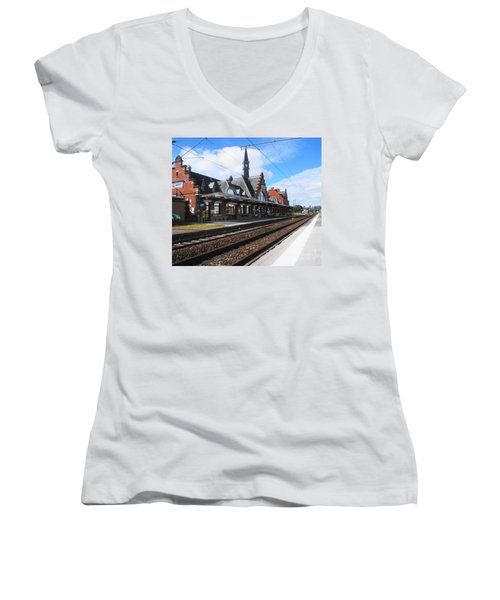 Women's V-Neck T-Shirt (Junior Cut) featuring the photograph Albert Train Station, France by Therese Alcorn