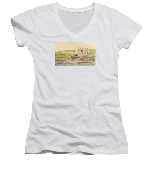 Alcazaba Of Almeria Women's V-Neck T-Shirt (Junior Cut) by Angeles M Pomata