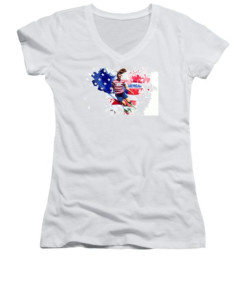 Alex Morgan Women's V-Neck T-Shirt (Junior Cut) by Semih Yurdabak