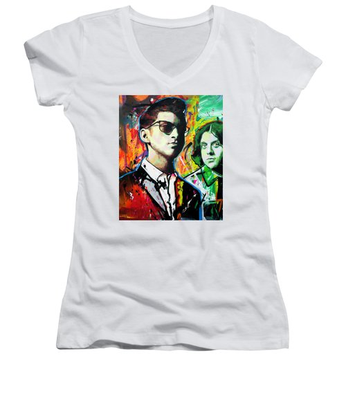 Women's V-Neck T-Shirt (Junior Cut) featuring the painting Alex Turner by Richard Day