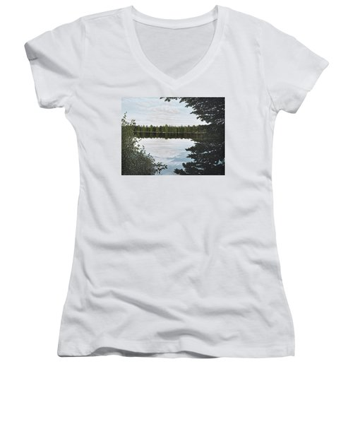 Algonquin Park Women's V-Neck T-Shirt (Junior Cut) by Kenneth M  Kirsch