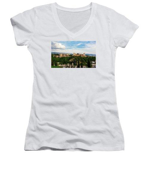 Alhambra In The Evening Women's V-Neck T-Shirt