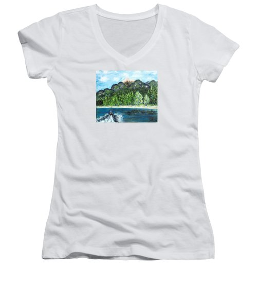 Alice Tubing On Hungry Horse  Reservoir Women's V-Neck T-Shirt