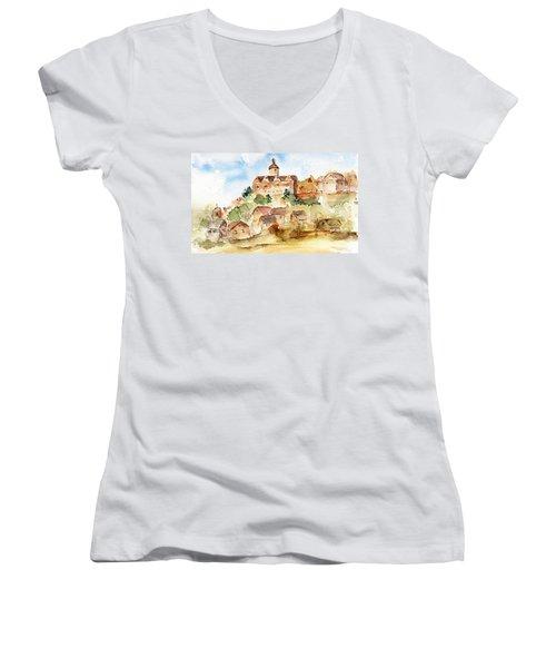 Alice's Castle Women's V-Neck T-Shirt (Junior Cut) by Anne Duke