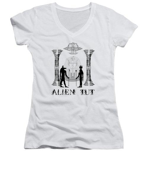 Alien King Tut Women's V-Neck T-Shirt (Junior Cut) by Robert G Kernodle