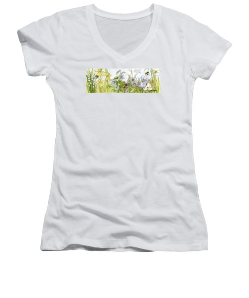 Alive In A Spring Garden Women's V-Neck T-Shirt (Junior Cut) by Laurie Rohner