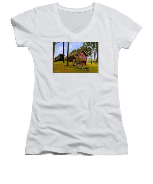 All Aboard Women's V-Neck T-Shirt (Junior Cut) by Judy Johnson