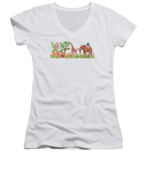 All Is Well In The Jungle Women's V-Neck (Athletic Fit)