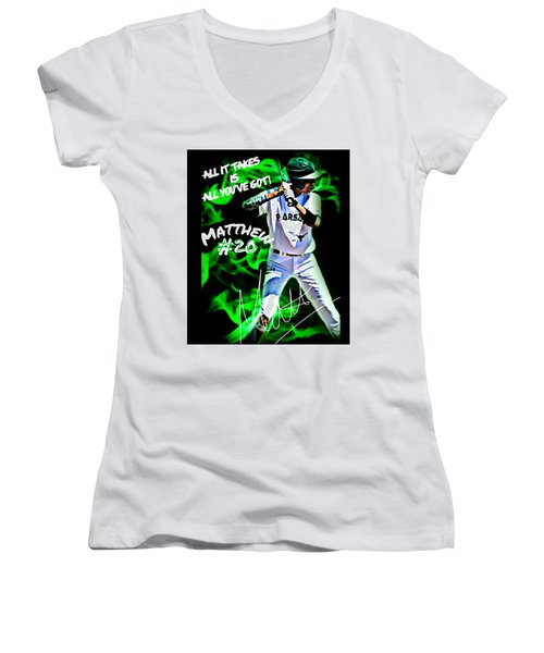 Women's V-Neck T-Shirt (Junior Cut) featuring the photograph All It Takes Matthew by Linda Cox