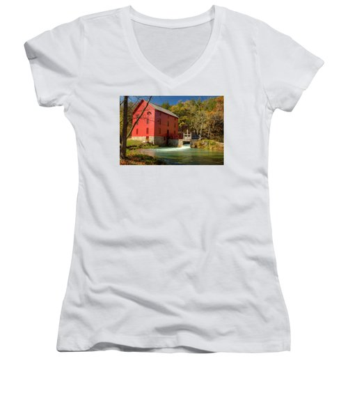 Women's V-Neck T-Shirt (Junior Cut) featuring the photograph Alley Mill by Harold Rau