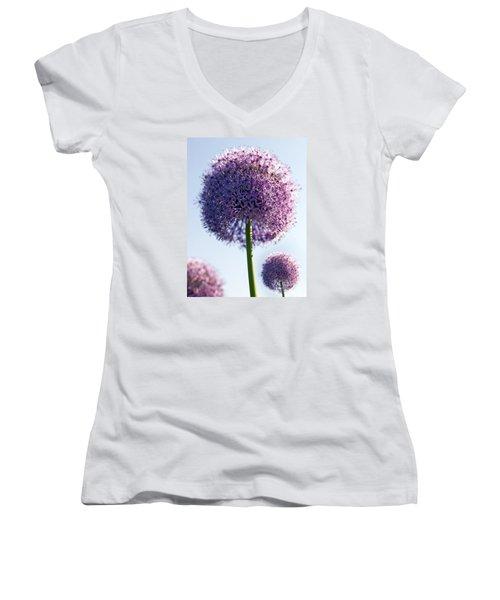 Allium Flower Women's V-Neck T-Shirt (Junior Cut) by Tony Cordoza