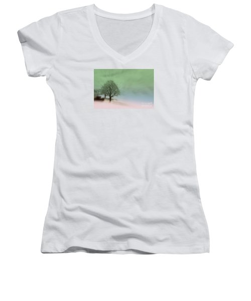 Women's V-Neck T-Shirt (Junior Cut) featuring the photograph Almost A Dream - Winter In Switzerland by Susanne Van Hulst