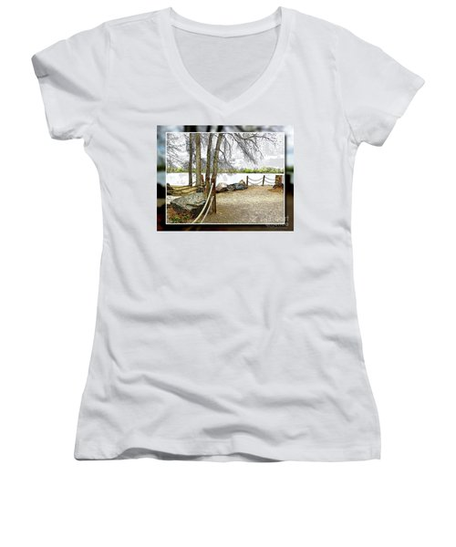 Almost Spring At Lafayette Lake Women's V-Neck (Athletic Fit)