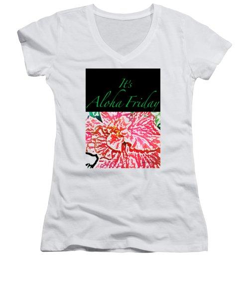 Aloha Friday T-shirt Women's V-Neck T-Shirt (Junior Cut) by James Temple