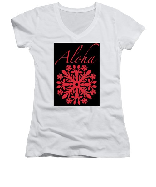 Aloha Red Hibiscus Quilt T-shirt Women's V-Neck T-Shirt (Junior Cut) by James Temple