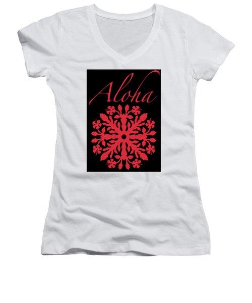 Aloha Red Hibiscus Quilt T-shirt Women's V-Neck T-Shirt (Junior Cut)